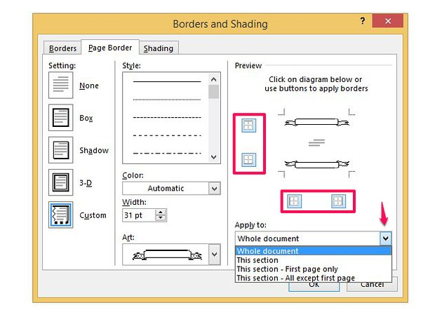 Choose where and how your border shows in a document.