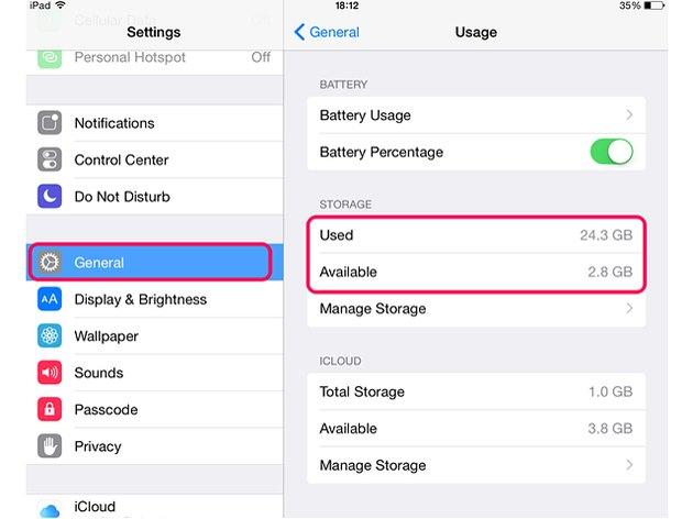 Check storage capacity in the Usage menu.