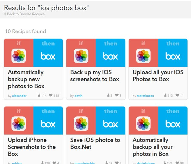 IFTTT iOS Photos back up to Box