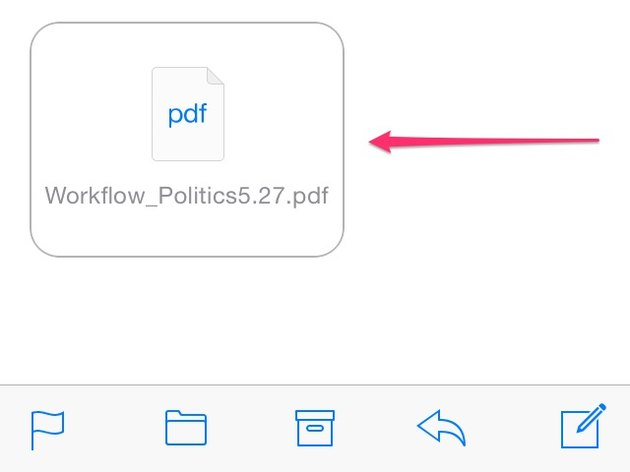 Tap the box that appears at the end of the email to view or download the attachment.