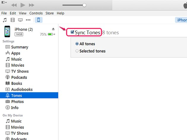 Make sure your device is set to sync Tones.