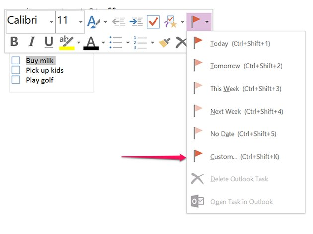 Click Custom to open the task in Outlook.