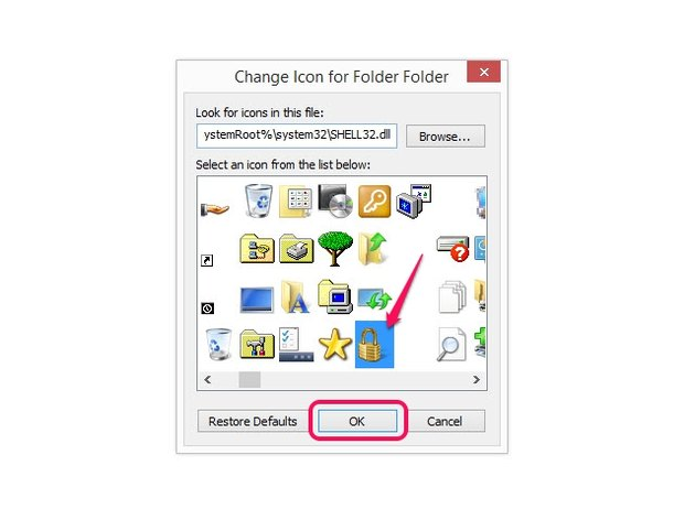 Change the icon for a selected folder.