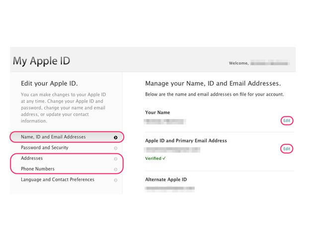 Editing Apple ID account info.