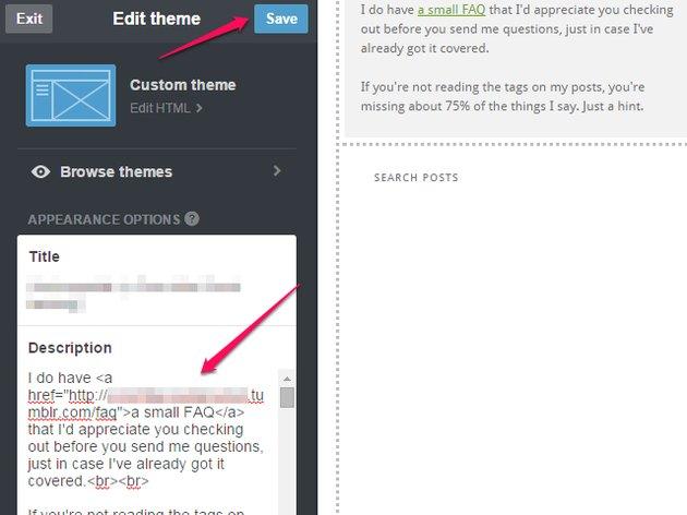 The theme options screen on Tumblr.