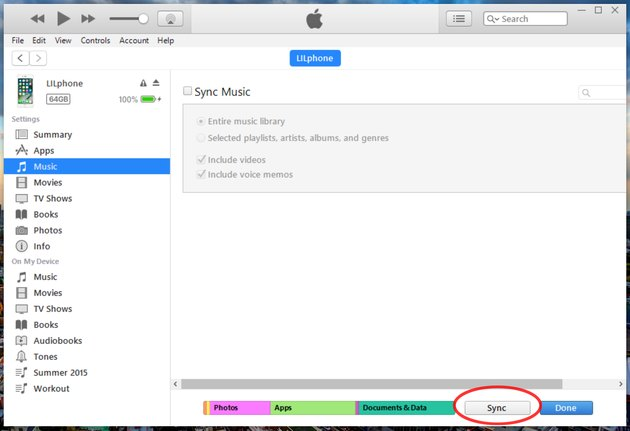 Music screen of iTunes with Sync button circled in red