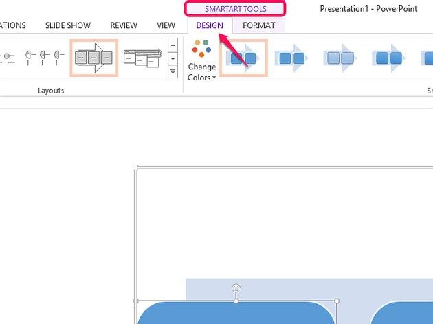 Open the Design tab in SmartArt Tools.