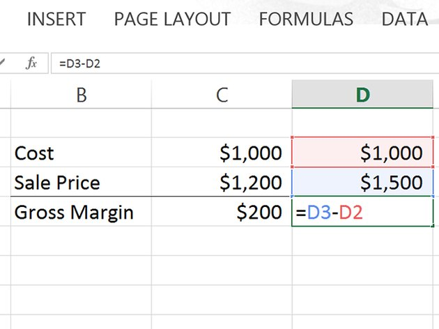 The completed formula subtracts D2 from D3.
