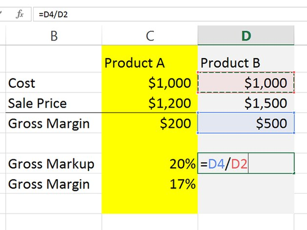 Divide margin by the cost to calculate markup percentage.