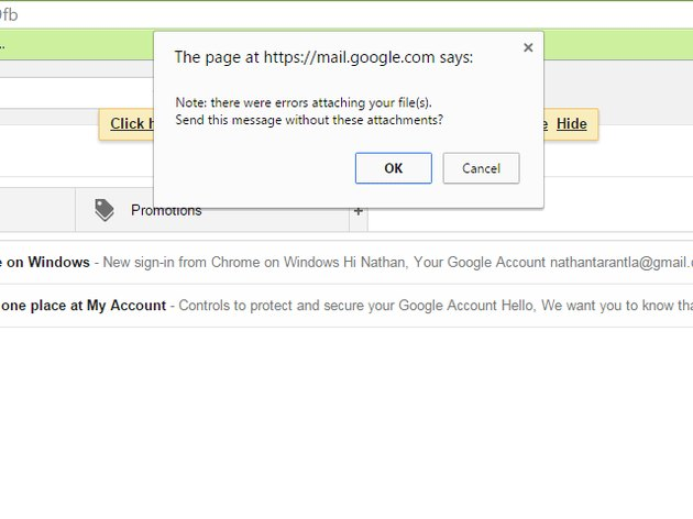 Google Gmail Outgoing Message Error Detected