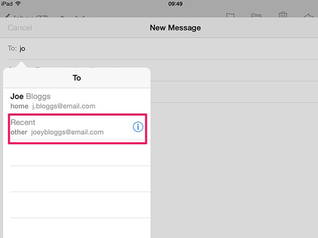 Delete email address from recent list on an iPad