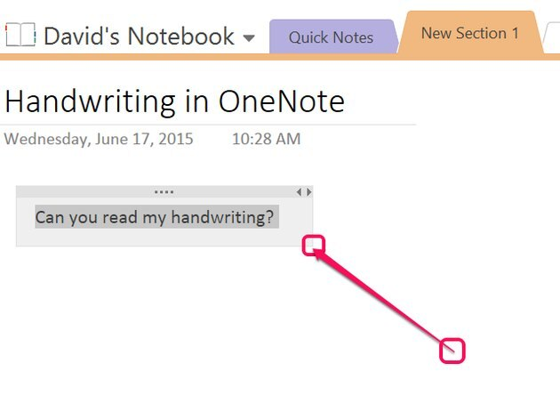 Adjust the converted writing's text box size.