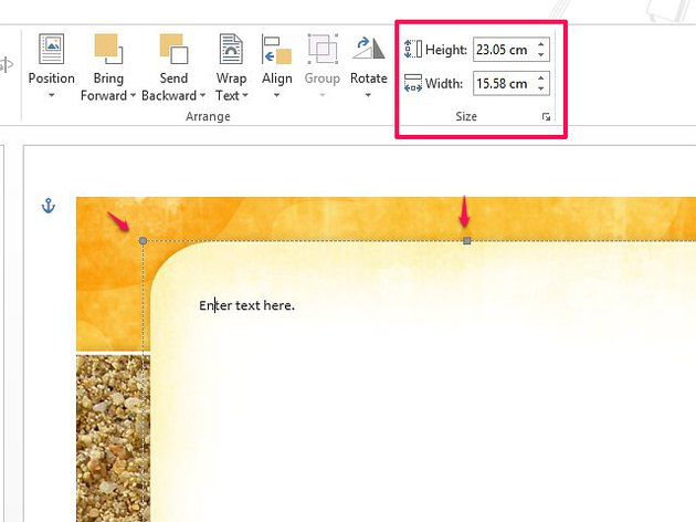 Change the position of a template in Word