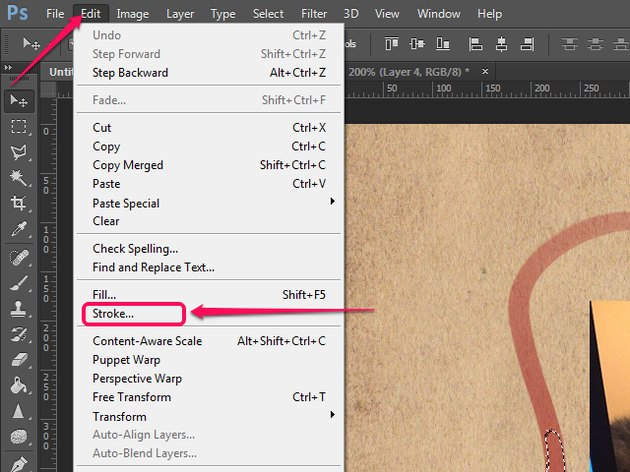 The Edit menu in Photoshop.