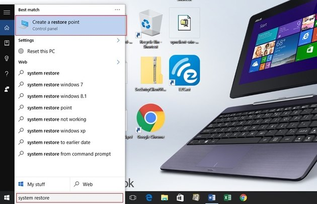 Typing 'System Restore' in the search field is a fast way to get to System Restore.