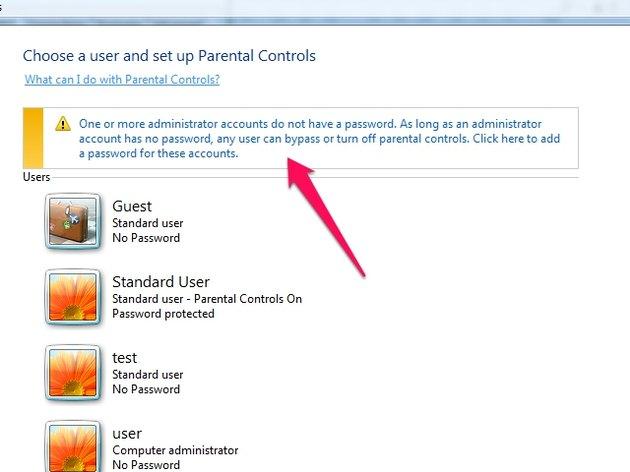 Set password warning.