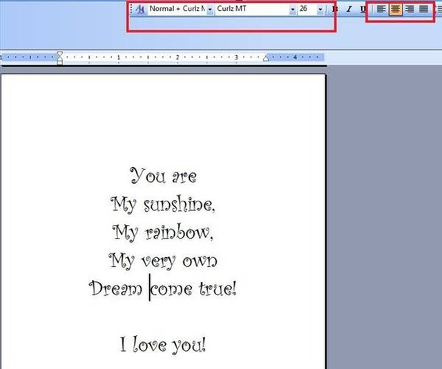 greeting card in word