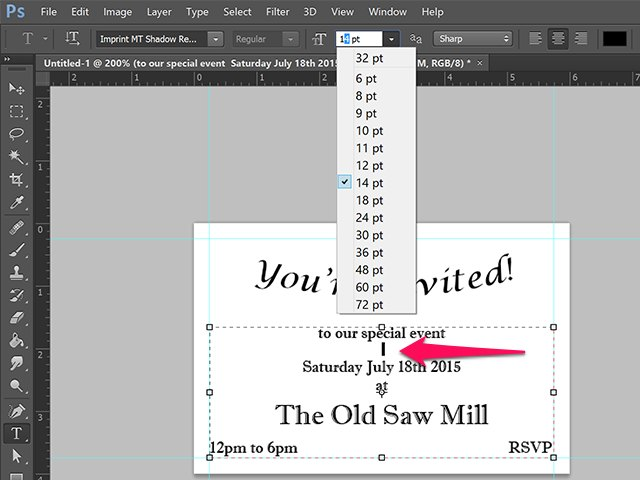 How do i make invitations in photoshop techwalla changing the font size of a space between lines stopboris Choice Image