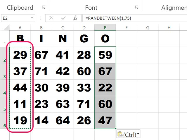 How to make bingo cards in excel techwalla copy the function to all 25 card cells solutioingenieria Images