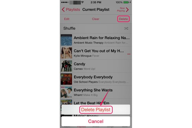how to delete a playlist off a phone