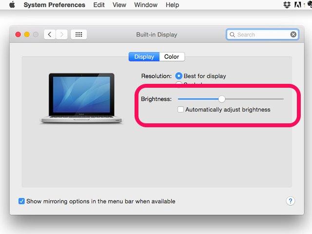 how to change screen brightness on mac