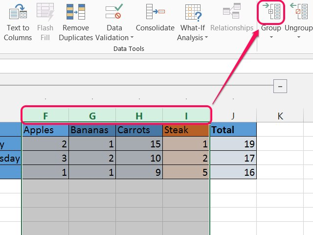 how to add up different categories in excel