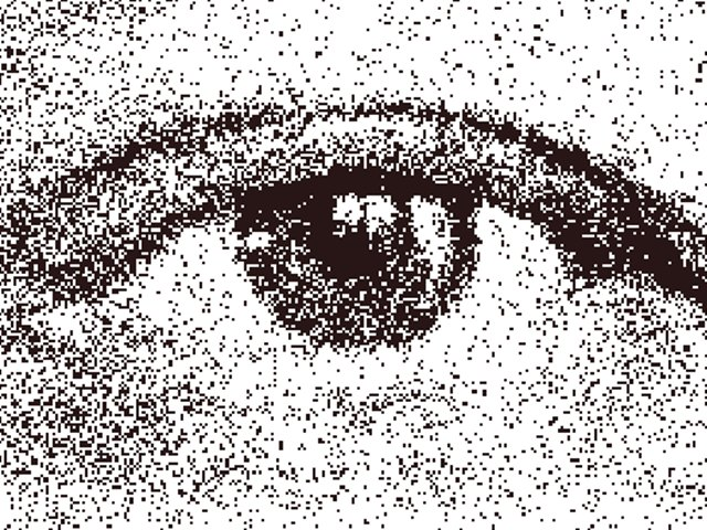 a stippled eye