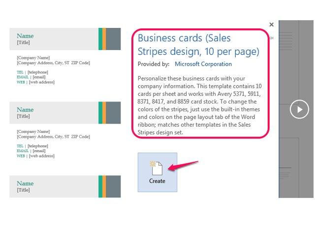 How to make business cards in microsoft word techwalla details about the selected template reheart Image collections