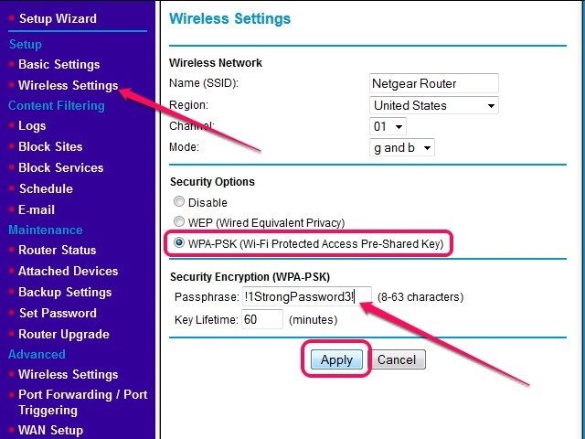How to set up a netgear password techwalla the wireless settings page in the netgear web interface ccuart Image collections