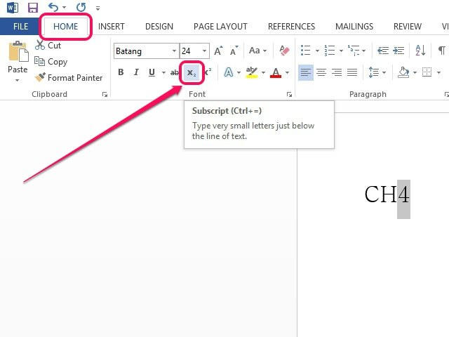 how to use subscript in word