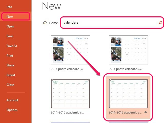 how to insert a calendar in powerpoint