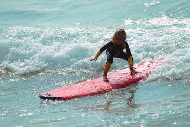 A child surfing