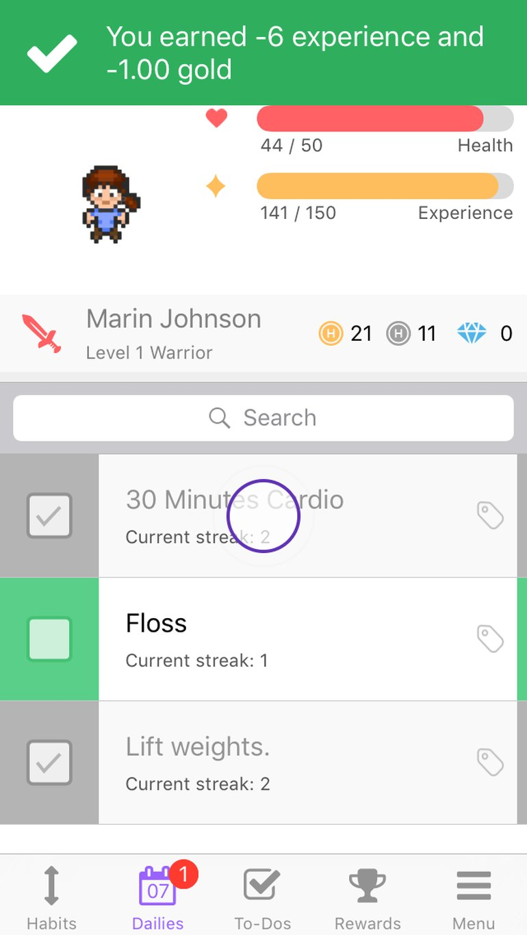 The Habitica interface