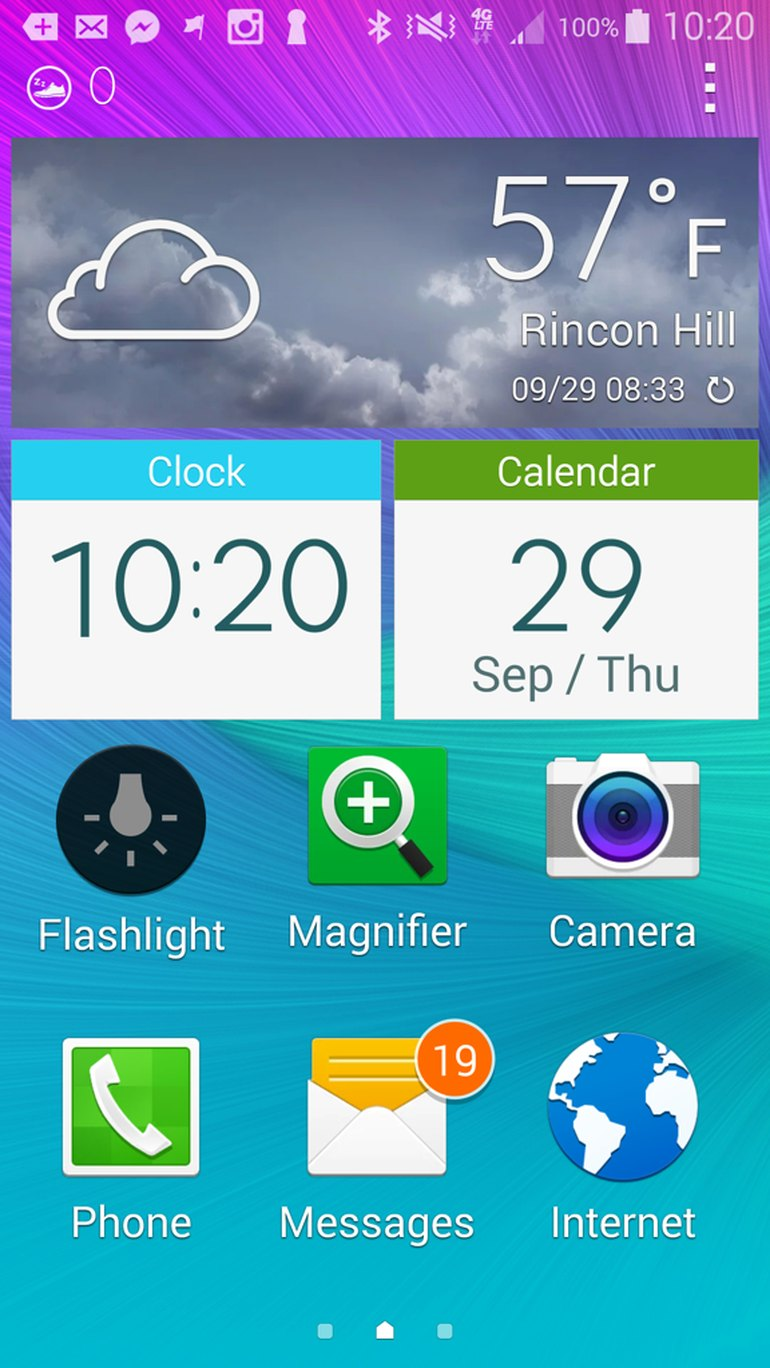 Samsung Easy Mode on a Galaxy Note 4