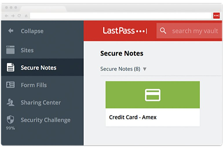 LastPass secure notes