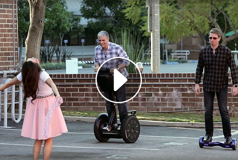 a We Have an Old-Fashioned Segway Vs Hoverboard Drag Race